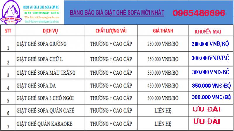 Bảng giá dịch vụ giặt ghế sofa tại nhà Hà Nội