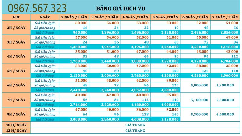 Bảng giá dịch vụ dọn nhà theo giờ ở Hà Đông